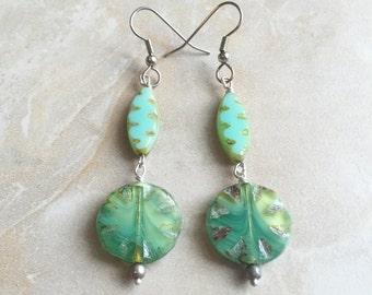 Beaded Glass Earrings - Long Colorful Earrings - Teal Green Dangle Earrings  (Ready to Ship)