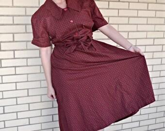 50s shirtwaist vintage dress large, burgundy print shirt dress,  | 1950s clothing