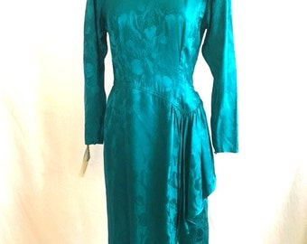 Vintage 80s TEAL GREEN Iridescent Floral Dress / Maggy London by Jeannene Booher