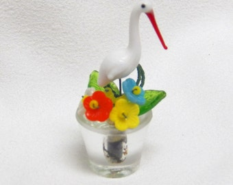 Place Card Holder w/Stork Vintage Czech Glass