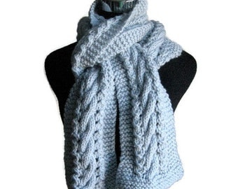 Pale Blue Hand Knit Scarf,Cable and Lace Blue Scarf, Vegan Scarf, Pale Blue Scarf, The Stef Scarf, Womens Scarf, Winter Scarf