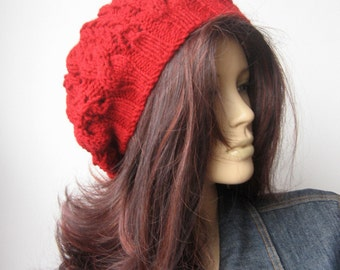Red Hand Knit Hat, Cable Slouchy Hat, Vegan Hat, Red Cable Hat, The Stef Hat, Fall Accessories, Cranberry Hat, Womens Hat