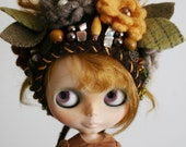RESERVED Listing - OOAK Blythe Doll Hat - Gnome Helmet for Blythe - Floral Collage -  Fall is in the Air