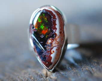 Dollybird Raw Black Rainbow Fire Opal Ring Sz 6