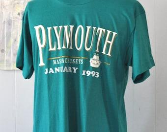Vintage Tshirt Tee Plymouth Ma 1993 Aruba 1992 Teal Teal Green Aqua Blue Plain Vacation Ocean Soft Thin XL