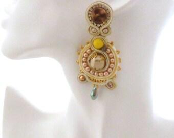 Long chandelier bridal earrings , wedding earrings ,  gold vintage pink earrings , handmade bride earrings , OOAK  bronze yellow earrings