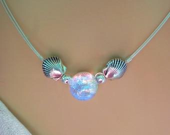 Delicate Dichroic Glass Mermaid Tear Choker in Translucent Tropical Colors, Dainty, Delicate, Silver Sea Shells, Beach Chic, Mermaid