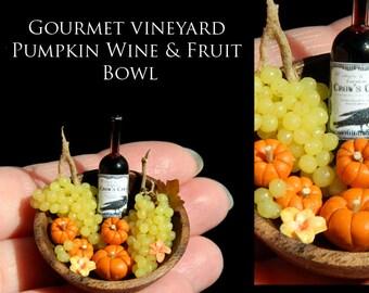 Gourmet Fall Vineyard Pumpkin & Grape Artisan Bowl - Artisan fully Handmade Miniature Dollhouse Food in 12th scale.