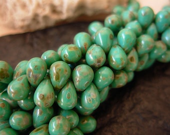 6x4mm Czech Teardrop Glass Beads- Turquoise Picasso (50)