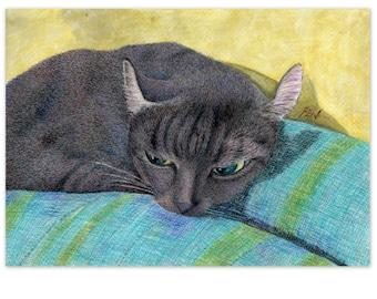 cat art print - a black cat on the back of a sofa - sleepy cat drawing cat lover's gift, A3 print A4, 8x10, 6x8 wall artwork