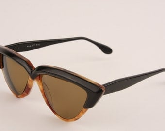 Vintage 1950s Prescription Sunglasses Cats Eye Tortoise Shell Brown Blacke Made in W Germany