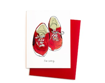 I'm Sorry Card, Sorry Shoes, Little Red Sneakers Greeting Card