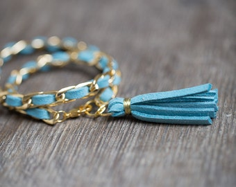 Double Wrap Tassel Bracelet Gold Chain Mint Turquoise Braided Suede Modern Boho jewelry