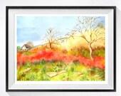 Landscape Art / Watercolor Print / California farm scene painting / farmhouse decor / Wall decor bright yellow lavender / Rustic / 11 x 14