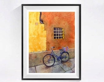 Watercolor Bike Prints Bicycle Art Prints Bikes Window art Italian windows Bike wall art windows Orange wall art Urban landscape  N