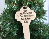 Personalized New Home Christmas Ornament Custom Engraved Key (NVMHDAY0793)