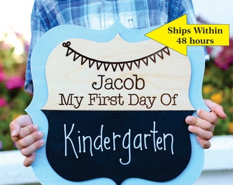 Personalized First Day Of Chalkboard School Sign Kindergarten First Grade Preschool CUSTOM Made Pick Your Color (NVMHDAY0746)