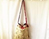 Artist's Hippie bag/Anthropologie Purse/Upcycled Purse/Cream Silk Purse/Flower power purse/Bohemian Purse/Hippie Bag/Farmhouse Chic/Rustic