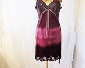 Medium Purple Haze ombre Vintage Slip sundress/Parisian Summer/Tie Dye Slip/Small Eco/Plum Babydoll Dress/Hipster/Hand dyed purple dundress