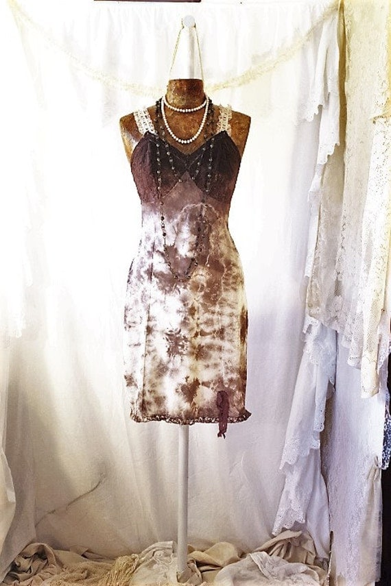 Small Romantic Tie Dye Vintage Slip/Brown and Cream Slip/Upcycled/Ecru Rustic Wedding/Upcycled cowgirl/Tattered Revolution/French Summer