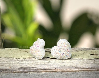 White Glitter Heart Earrings, Faux Druzy Studs Choose Titanium or Stainless Steel, 12mm