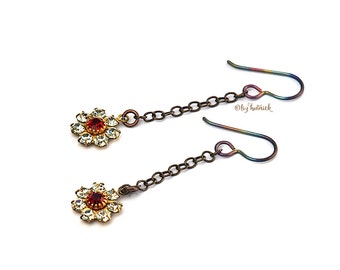 Flower & Chain Dangle Earrings, Rainbow Titanium Wires Brass, and VIntage Crystal Flowers Daisy Chain Earrings - Summerfall Collection