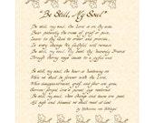 BE STILL My SOUL - Custom Christian Home Decor - Hand Written Calligraphy Wall Art - VintageVerses Inspirational Wall Art- Natural Parchment