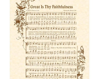 GREAT Is THY FAITHFULNESS - Hymn Art - Custom Christian Home Decor - VintageVerses Sheet Music - Inspirational Wall Art - Morning Mercy