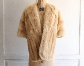 vintage 50s mink fur stole honey blonde