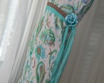 1920s 1930s Flapper Style Frock Silk Chiffon Orig Redesign Size M Bias Cut Pretty Springtime