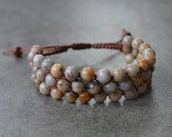 Natural Grey Feldspar Bracelet, Gemstone Cuff, Macrame Bracelet, Boho Jewelry, Friendship Bracelet