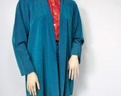 Silky Jacket Vintage Long Open Front Teal Blue Jacket 1980's Lightweight Kimono Style Size Medium Large