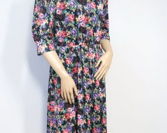 Vintage Dress Floral Dress 1980's Dress Casual Office Dress Vintage Dress Size 12 Petite