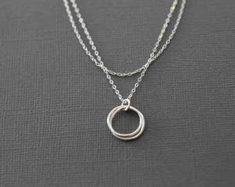 sterling silver necklace, nesting circles, two layers, two tier, love knot, eternity, two circles, mothers necklace, N74
