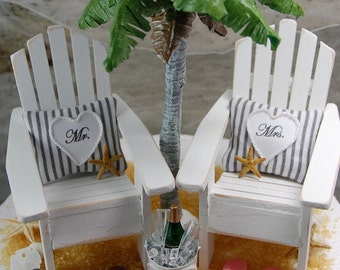 "5"" Cake Top Two Shabby Beach Chairs With Personalized Pillows Wedding Cake Topper In Your Wedding Colors Handmade To Order"