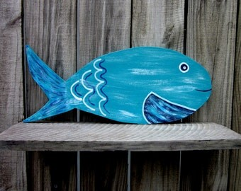 Painted Wood Fish, Tropical Fish,  Colorful Fish, Aqua, Blue, White, Beach Wall Decor, Hand Painted Fish, Nautical Decor, Wall Hanging