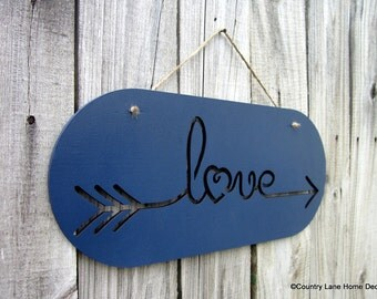 Love Sign, Blue, Laser Cut Sign, Painted Wood, Love, Laser Cut Out, Jute Hanger, Hand Painted