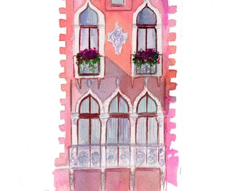 Afternoon Shadows in Venice, print from original watercolor illustration by Jessica Durrant