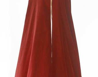 Burgundy Red Luxurious Quality Velvet Long Cloak with Hood Lined in Crepe Back Quality Satin - Custom Made