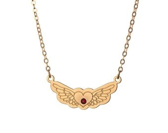 Wings Necklace, Gold Plated Heart and Wings Tattoo Necklace
