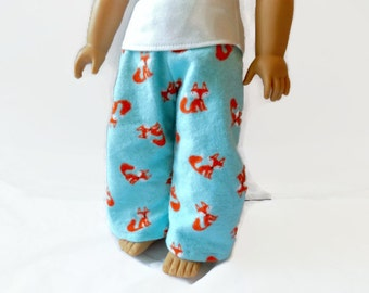 18 Inch Doll Pajama Pants, Doll Sleepwear, Fox Print Pajama Pants for Dolls