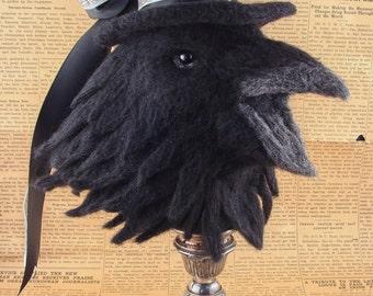 Needle Felted Raven Crow Bird Black Animal Sculptures by Bella McBride
