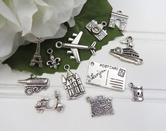 12 FRENCH VACATION Charm Set, Each One Different, Antique Silver Tone, Eiffel Tower Scooter Wine, Arc de Triomphe, Passport, Suitcase, Plane