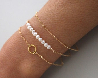 Pearl and Gold bracelet set - 3 dainty gold stacking bracelets - save 15%