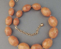 JOAN RIVERS Vintage Butterscotch Bead Necklace / Joan Rivers Bead Necklace/ Joan Rivers Beads / Joan Rivers Jewelry / Joan Rivers Necklace