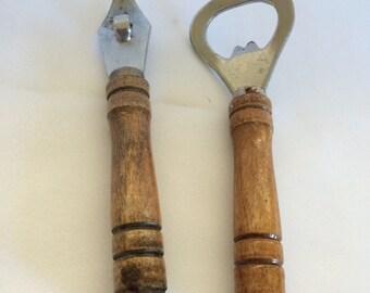 Vintage Set of Wood Handle Bottle Openers