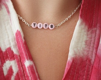 NEW silver & pink TITS chain necklace 90's  - gift idea: have one personalised