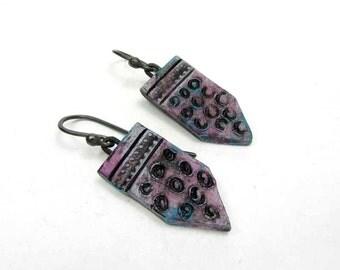 Purple Tie Panel Earrings -Bohemian Artisan Ceramic Earrings No. 286