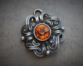 Antique Art Nouveau Topaz and Silver Medallion Pendant / Antique Paste Pendant / Celtic Jewelry