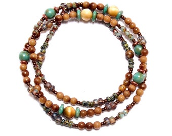 Boho Wrap,  Beaded Necklace, Butterscotch Teal, Wrap Beaded Bracelet